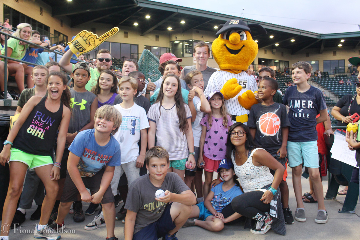 Group of camp Dunnabeck campers at a New Britton Bees baseball game