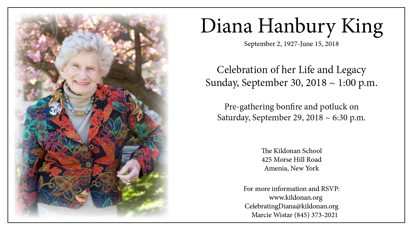 Celebration of life announcement for Diana Hanbury King.