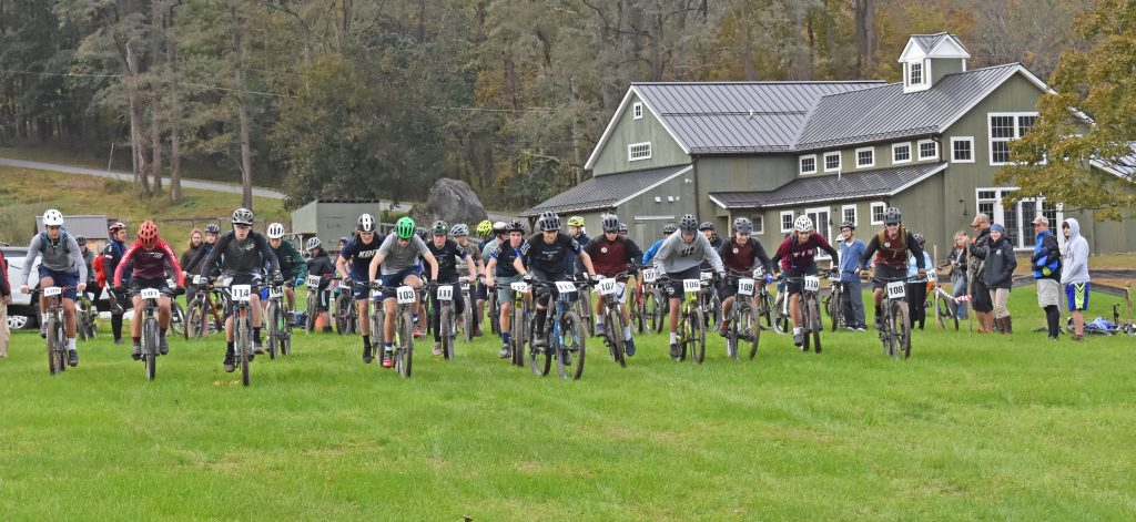 Mountain biking, Kildonan students and others racing from the start line.