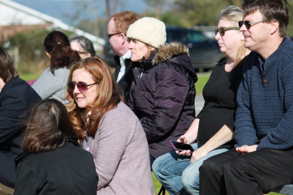 Parents watching Kildonan students in the equestrian ring