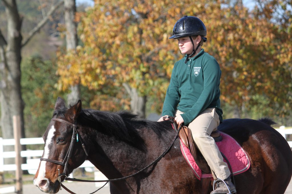 Elementary equestrian student trotting on horse