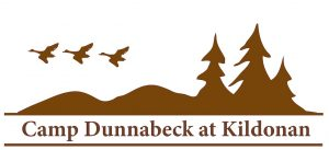Logo for Camp Dunnabeck at Kildonan, three brown trees, two hills and three geese flying pictured on white background