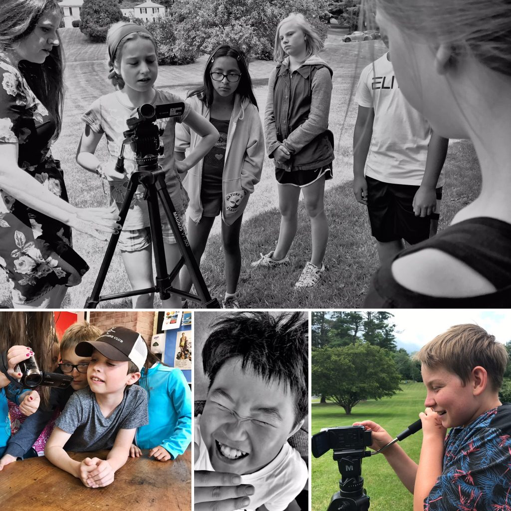 Collage of three photos, top black and white of Camp dunnabeck campers around a tripod, others of campers smiling, filming on camera, and looking into camera display.